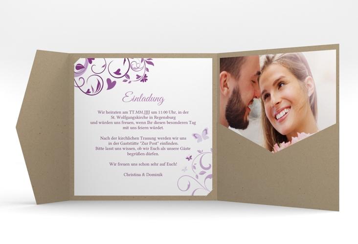 "Hochzeitseinladung ""Lilly"" Pocketfold lila"