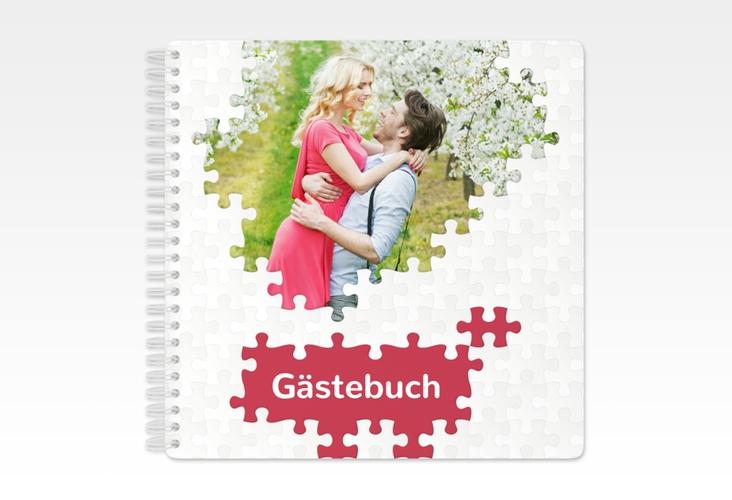 "Gästebuch Hochzeit ""Puzzle"" Ringbindung rot"