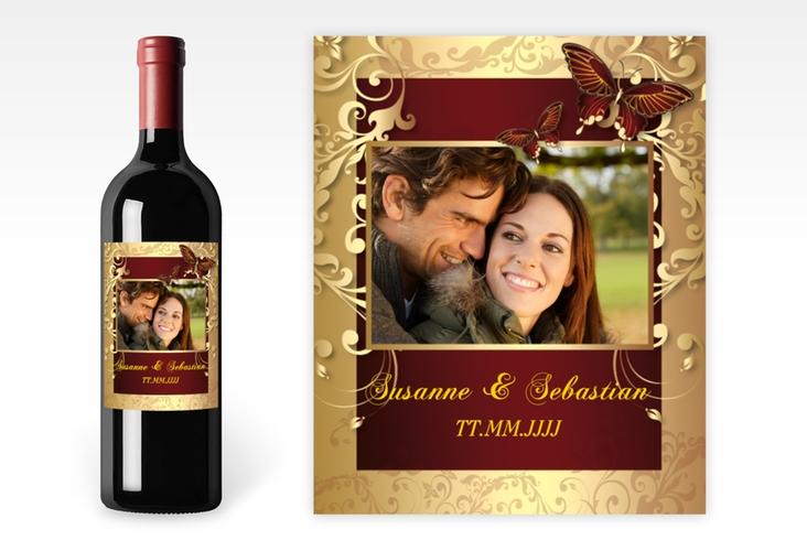 """Weinflaschenetikett Hochzeit """"Toulouse"""" Etikett Weinflasche 4er Set rot"""