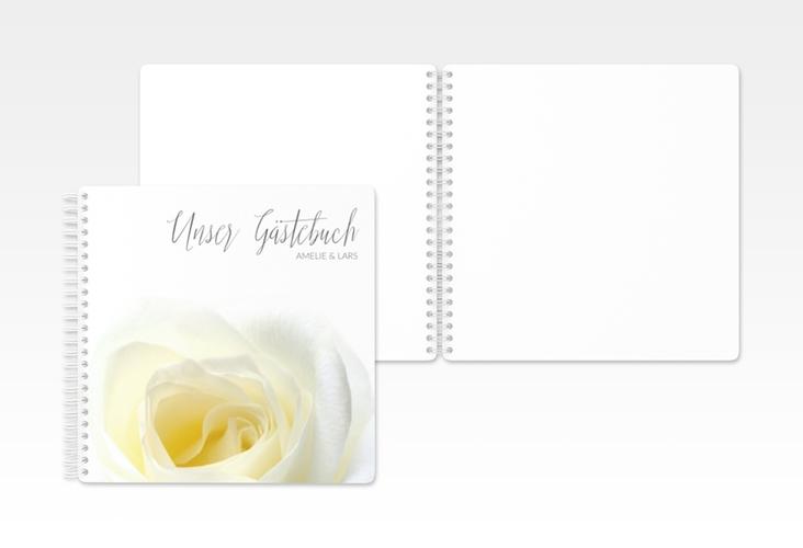 """Gästebuch Hochzeit """"Rose"""" Ringbindung weiss"""