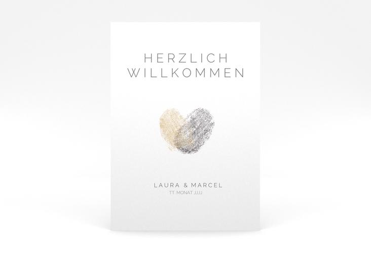 "Willkommensschild Poster ""Fingerprint"" 50 x 70 cm Poster beige"