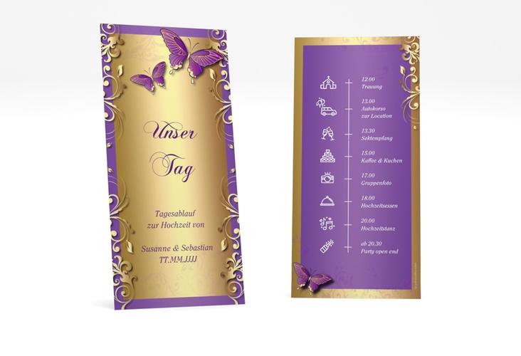 """Tagesablauf Hochzeit """"Toulouse"""" DIN lang hoch lila"""