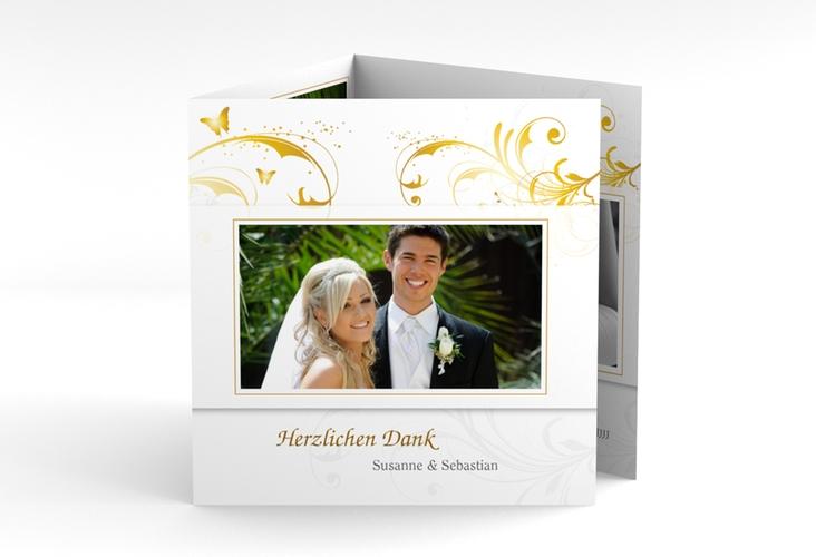 """Dankeskarte Hochzeit """"Palma"""" Quadr. Karte doppelt gold"""