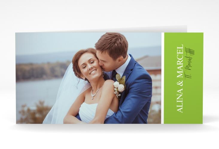 """Danksagungskarte Hochzeit """"Classic"""" DIN lang Klappkarte gruen"""