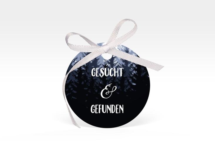"""Geschenkanhänger Hochzeit """"Forest"""" Geschenkanhänger, rund blau"""