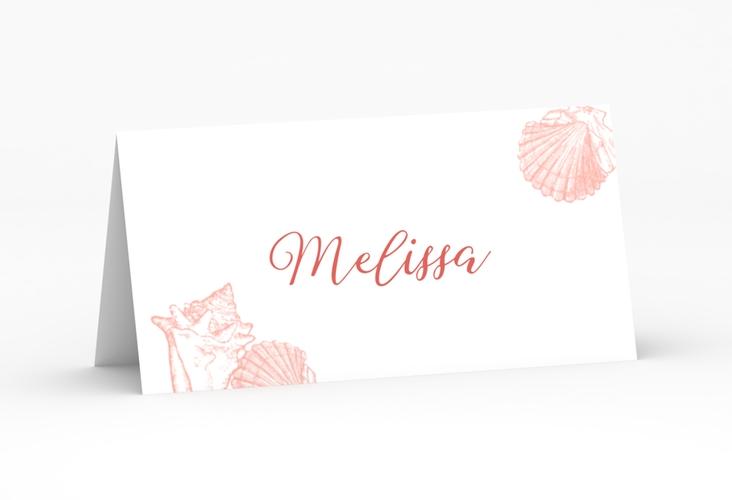 """Tischkarte Hochzeit """"Muschelreich"""" Tischkarten rot"""