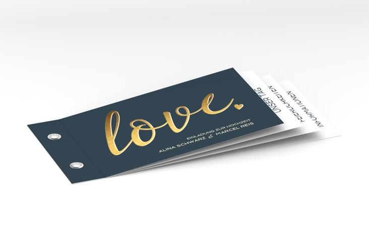 """Hochzeitseinladung """"Glam"""" Booklet blau"""