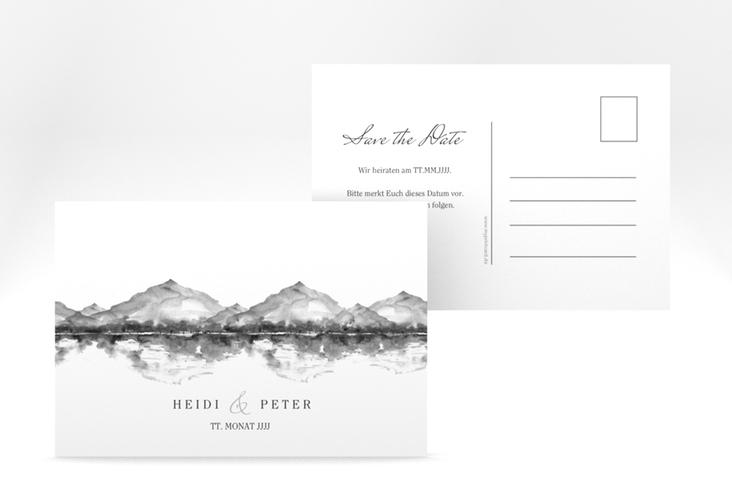 "Save the Date-Postkarte ""Bergliebe"" A6 Postkarte grau"