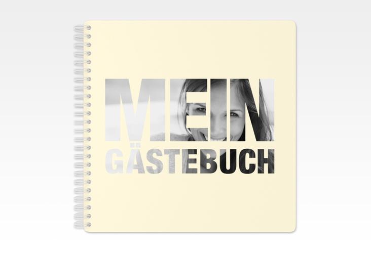 """Gästebuch Geburtstag """"Numbers"""" Ringbindung beige"""