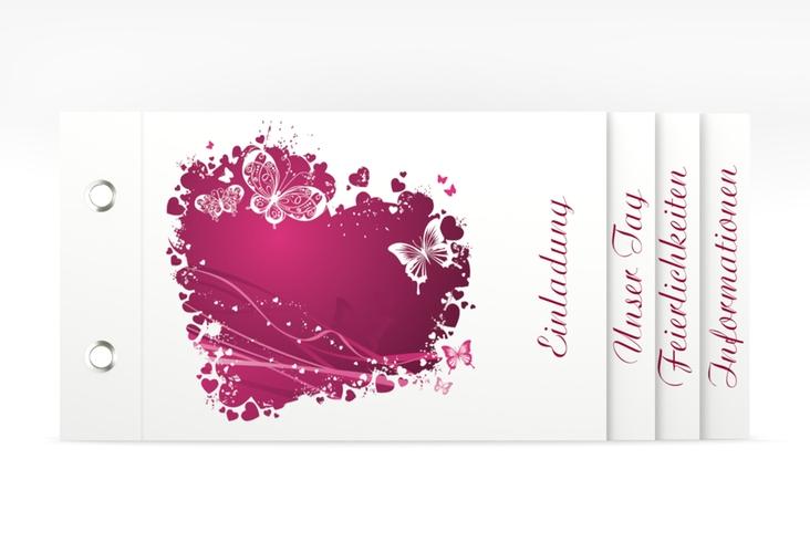 """Hochzeitseinladung """"Mailand"""" Booklet pink"""
