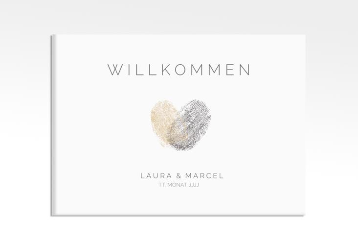 "Willkommensschild Leinwand ""Fingerprint"" 70 x 50 cm Leinwand beige"