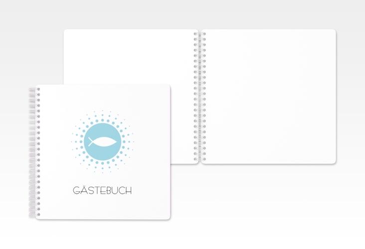 """Gästebuch Konfirmation """"Oration"""" Ringbindung blau"""