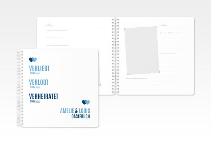 "Gästebuch Hochzeit ""Couple"" Ringbindung blau"
