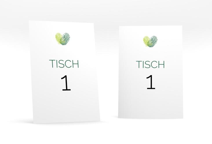 """Tischnummer Hochzeit """"Fingerprint"""" Tischaufsteller gruen"""
