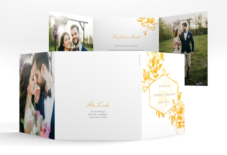 """Dankeskarte Hochzeit """"Magnificent"""" Quadr. Karte doppelt gelb"""