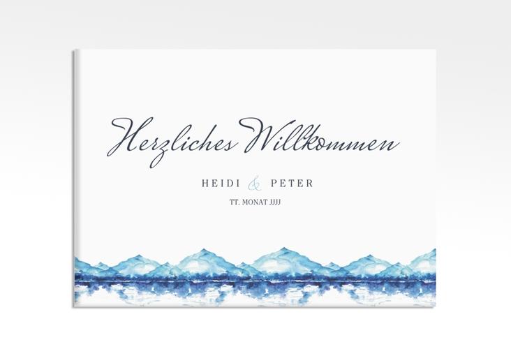 "Willkommensschild Leinwand ""Bergliebe"" 70 x 50 cm Leinwand blau"