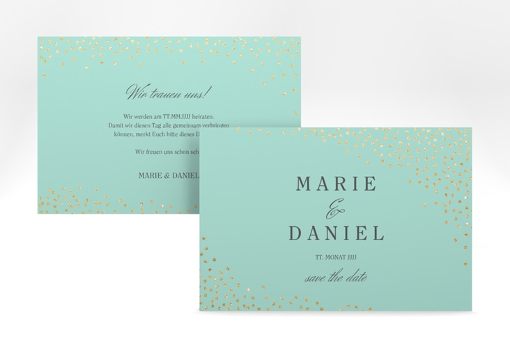 "Save the Date-Karte ""Glitter"" A6 quer mint"