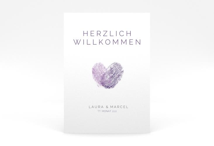 """Willkommensschild Poster """"Fingerprint"""" 50 x 70 cm Poster lila"""
