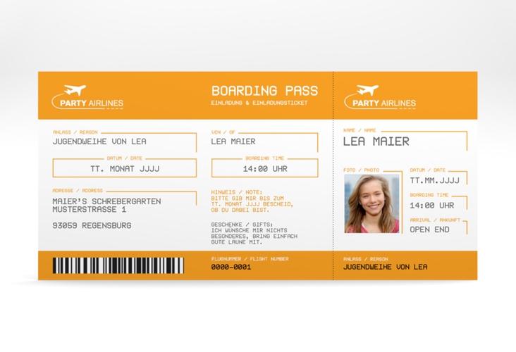 "Einladung Jugendweihe ""Ticket"" DIN lang"