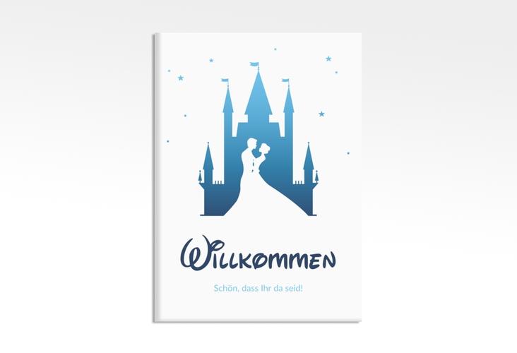 "Willkommensschild Leinwand ""Castle"" 50 x 70 cm Leinwand blau"