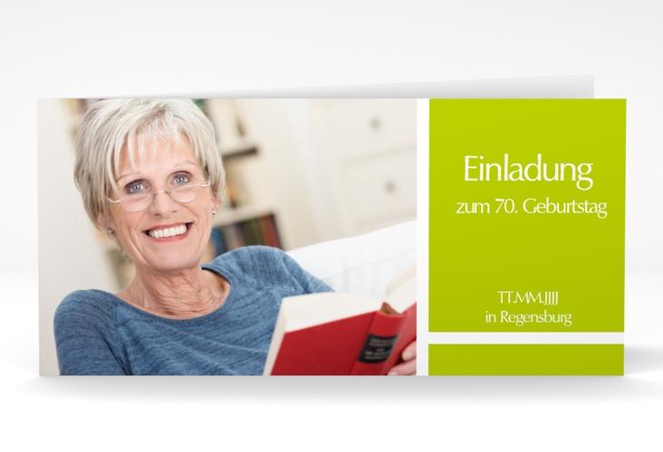 "Einladungskarte ""Gerd/Gerda"" DIN lang Klappkarte gruen"