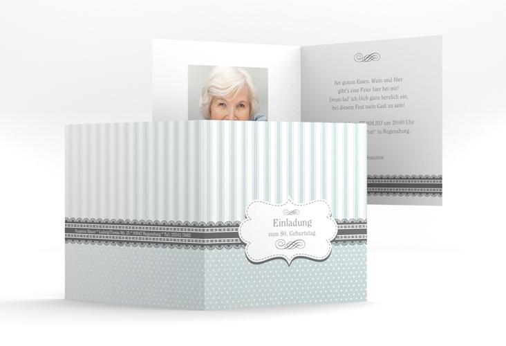 """Einladungskarte """"Heinrich/Henriette"""" Quadratische Klappkarte grau"""