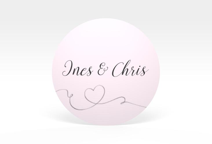 """Aufkleber Hochzeit """"Dolce"""" Aufkleber, selbstklebend, rund rosa"""