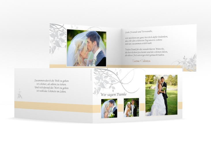"Dankeskarte Hochzeit ""Florenz"" DIN lang Klappkarte beige"