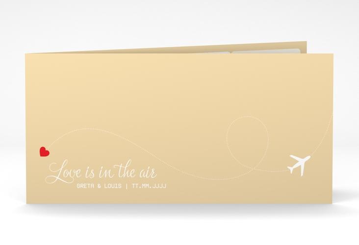 """Dankeskarte Hochzeit """"Weddingpass"""" DIN lang Klappkarte beige"""