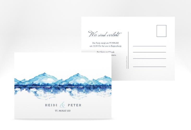 """Verlobungskarte Hochzeit """"Bergliebe"""" A6 Postkarte blau"""