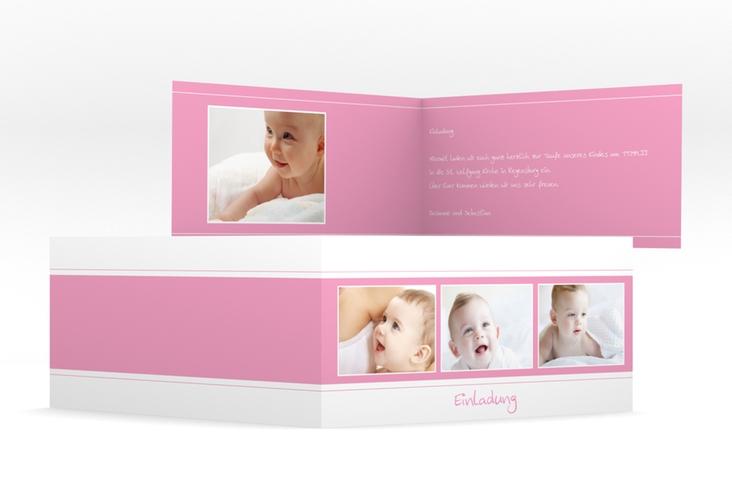 "Einladungskarte Taufe  ""Sunshine"" DIN lang Klappkarte rosa"