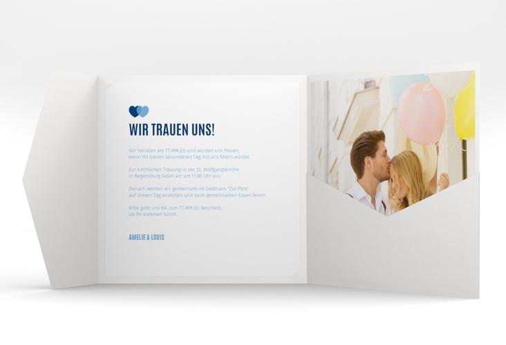 """Hochzeitseinladung """"Couple"""" Pocketfold blau"""
