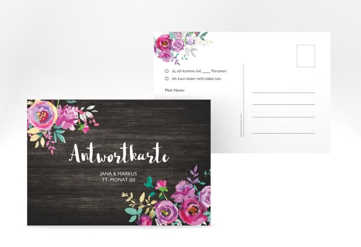 """Antwortkarte Hochzeit """"Flourish"""" A6 Postkarte schwarz"""