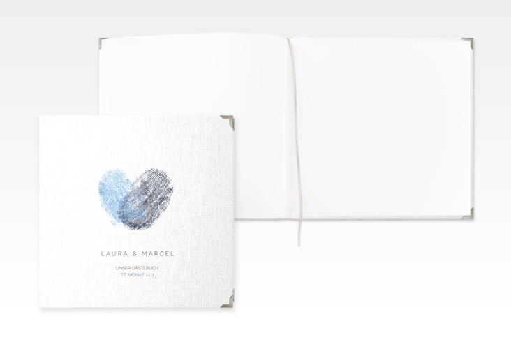 "Gästebuch Selection Hochzeit ""Fingerprint"" Leinen-Hardcover blau"