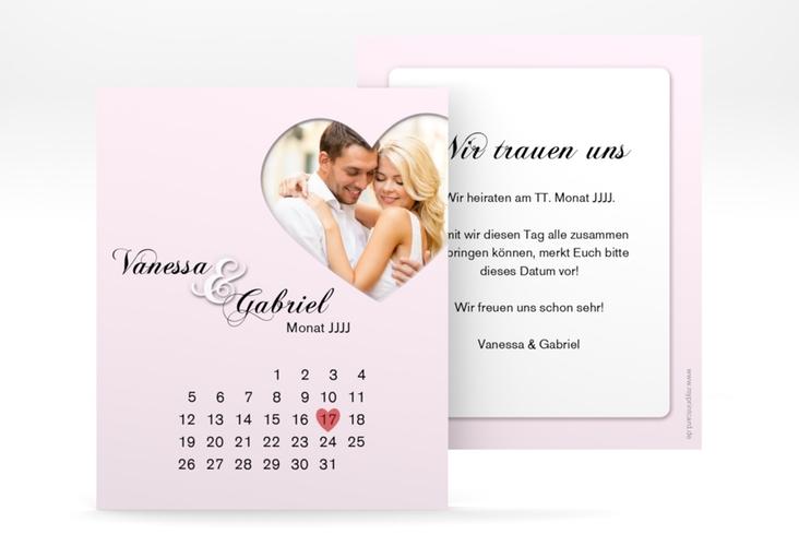 "Save the Date-Kalenderblatt ""Sweetheart"" Kalenderblatt-Karte rosa"