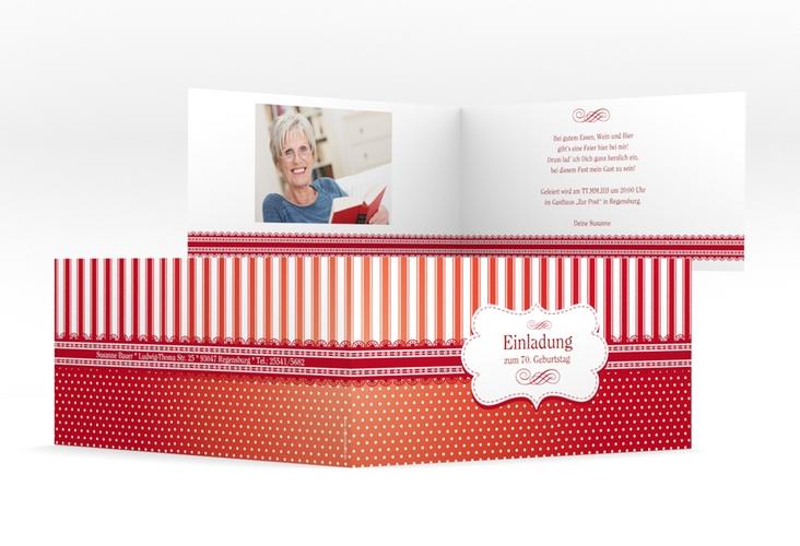 """Einladungskarte """"Heinrich/Henriette"""" DIN lang Klappkarte rot"""
