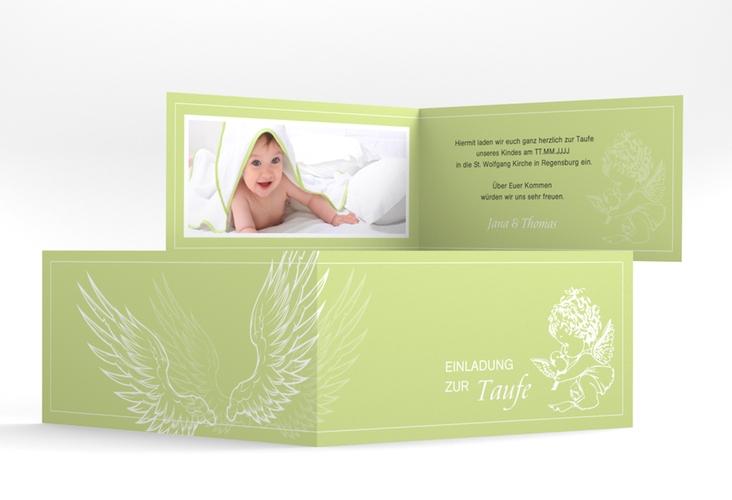 """Einladungskarte Taufe """"Angel"""" DIN lang Klappkarte gruen"""