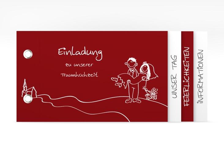 """Hochzeitseinladung """"Pisa"""" Booklet rot"""