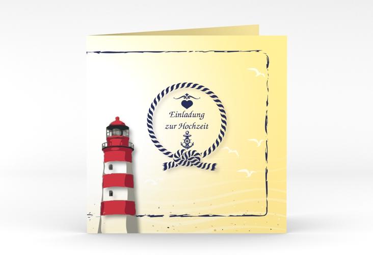 """Hochzeitseinladung """"Sylt"""" Quadratische Klappkarte gelb"""