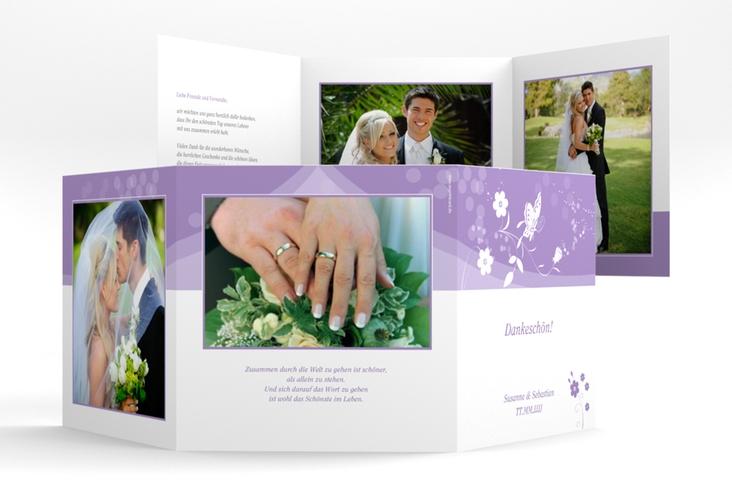"Danksagungskarte Hochzeit ""Verona"" Quadr. Karte doppelt lila"