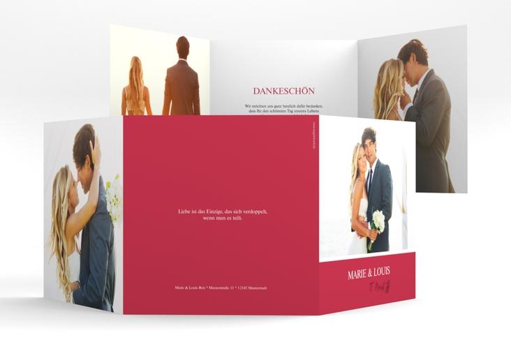 """Dankeskarte Hochzeit """"Balance"""" Quadr. Karte doppelt rot"""