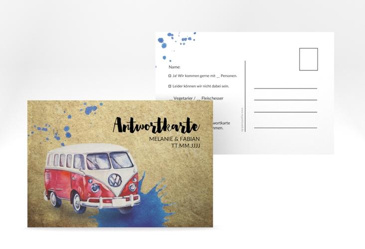 "Antwortkarte Hochzeit  ""Bulli"" A6 Postkarte"