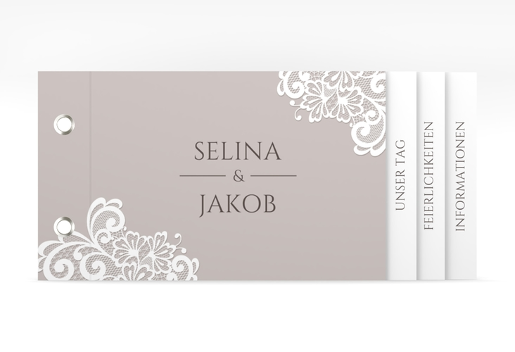 """Hochzeitseinladung """"Vintage"""" Booklet grau"""