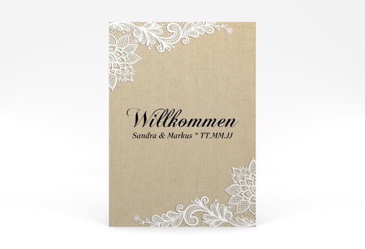 """Willkommensschild Poster """"Lace"""" 50 x 70 cm Poster beige"""