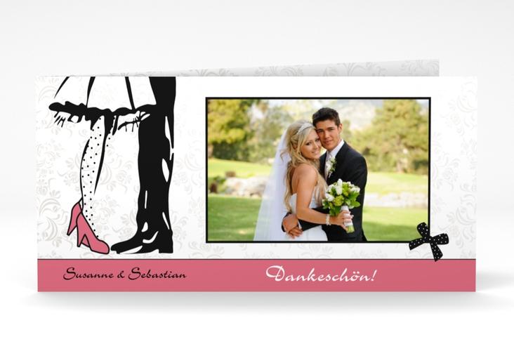 "Danksagungskarte Hochzeit ""Straßburg"" DIN lang Klappkarte rosa"
