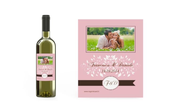 Etichette vino matrimonio collezione Malaga Etikett Weinflasche 4er Set rosa