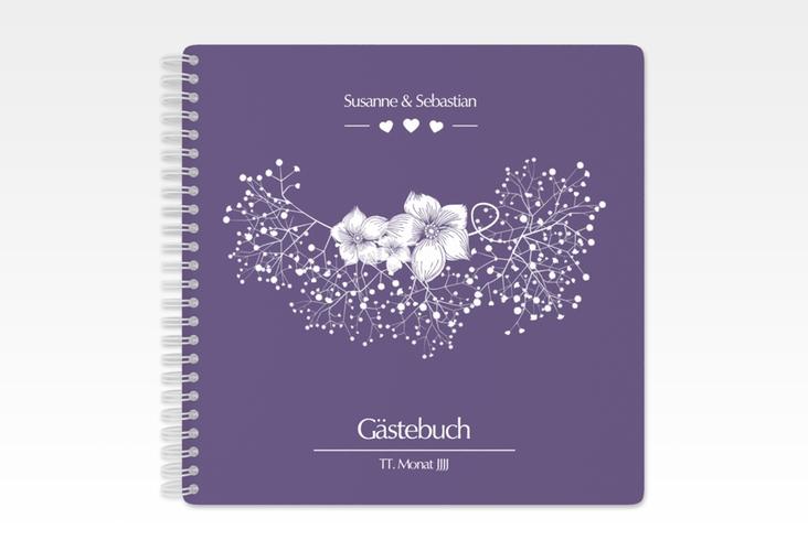 "Gästebuch Hochzeit ""Jena"" Ringbindung lila"