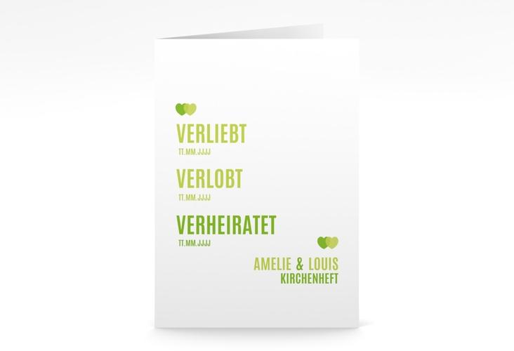 "Kirchenheft Hochzeit ""Couple"" DIN A5 geklappt gruen"