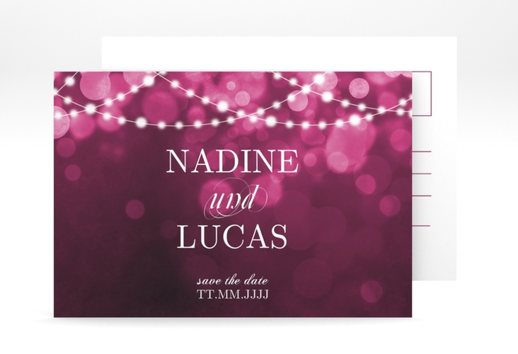 "Save the Date-Postkarte ""Lichtspiel"" A6 Postkarte pink"
