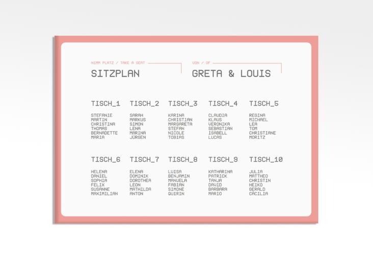 "Sitzplan Leinwand Hochzeit ""Weddingpass"" 70 x 50 cm Leinwand rosa"